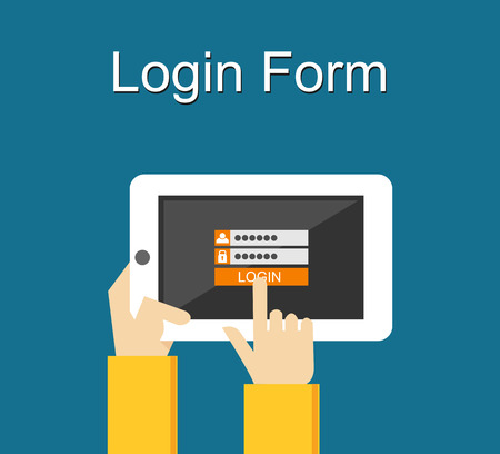 online form: Login form illustration. Flat design. Login form on gadget screen illustration concept.