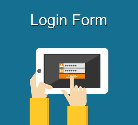register: Login form illustration. Flat design. Login form on gadget screen illustration concept.
