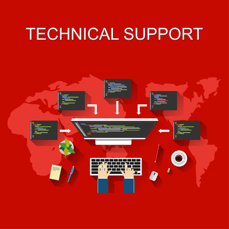 Technical support illustration. Customer support concept.  Flat design illustration concepts for technical support business monitoring development programming management brainstorming working.