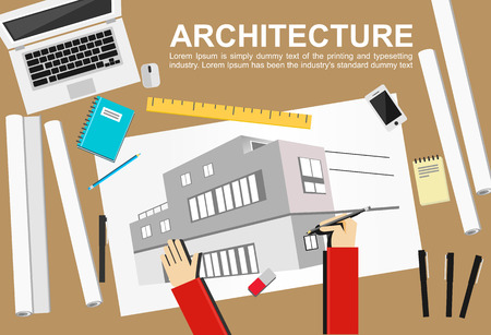 architectural team: Architecture illustration. Architecture concept.  Flat design illustration concepts for working task construction drawing architectural business analysis planning brainstorming.