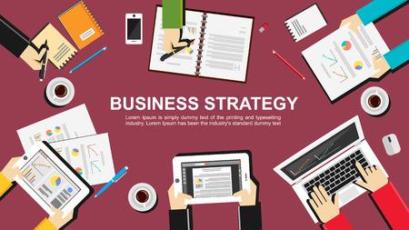 Business strategy illustration. Flat design illustration concepts for business finance management career employment agency brainstorming meeting teamwork planning.