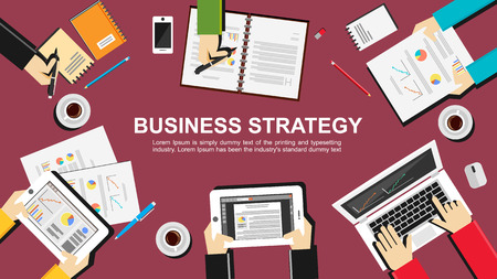 employment agency: Business strategy illustration. Flat design illustration concepts for business finance management career employment agency brainstorming meeting teamwork planning.