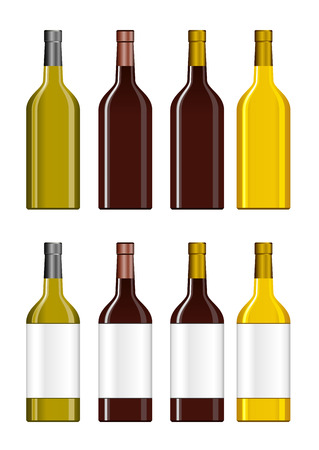 unopened: Bottle illustration. Set of Bottles. Bottle icon.