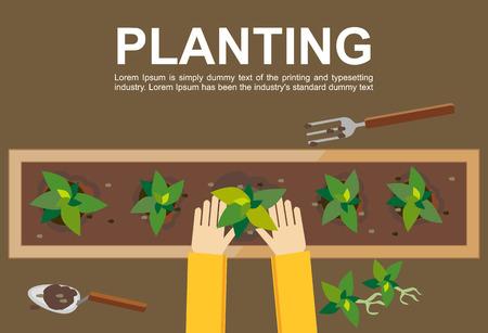 イラストを植栽します。コンセプトを植栽します。作業農業育成建築シード園芸の収穫のためのフラットなデザイン図概念は緑行きます。