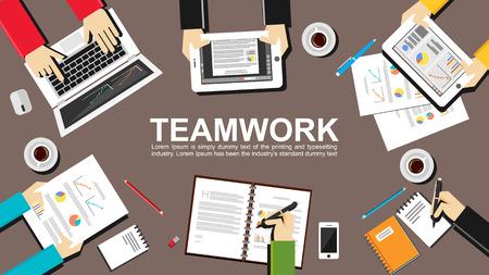 Teamwork illustration. Teamwork concept. Flat design illustration concepts for teamwork team meeting business finance management career analytics analysis brainstorming planning. Stock Illustratie