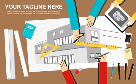 architectural team: Banner illustration. Architecture concept.  Flat design illustration concepts for construction working drawing architectural business analysis planning teamwork development brainstorming.