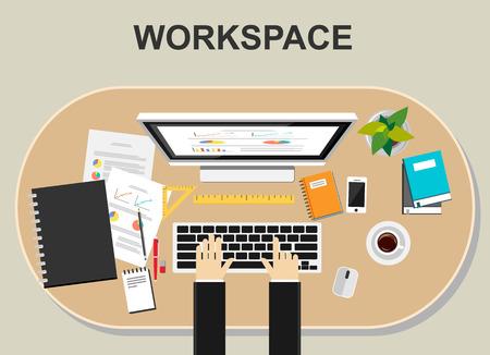worker working: Workspace illustration.  Flat design illustration concepts for workspace working monitoring business career planning teamwork development brainstorming strategy worker management.