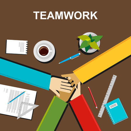 discussion: Teamwork illustration. Teamwork concept. Flat design illustration concepts for teamwork team meeting discussion working business career planning development brainstorming strategy.
