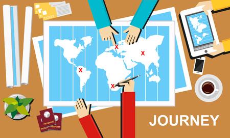 define: Journey illustration. Journey banner concept. Flat design illustration concepts for journey destination trip adventure teamwork advertisement business planning. Illustration
