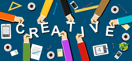 creativity concept: Creative illustration. Creativity concept. Flat design illustration concepts for creative team teamwork team solidarity meeting working business career development brainstorming strategy.