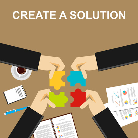 define: Create a solution illustration.  Making a solution concept. Business people with puzzle pieces. Flat design illustration concepts for teamwork discussion business career strategy decision making.