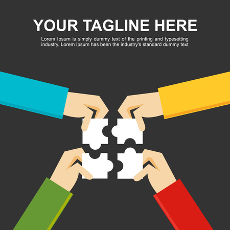 define: Banner illustration.  Making a solution concept. Business people with puzzle pieces. Flat design illustration concepts for teamwork discussion business career strategy decision making creativity