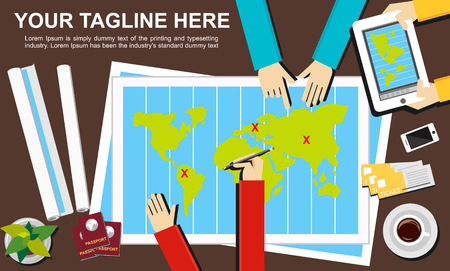 business planning: Banner illustration. Flat design illustration concepts for journey destination trip adventure teamwork advertisement business planning target meeting discussion.