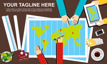 illustration journey: Banner illustration. Flat design illustration concepts for journey destination trip adventure teamwork advertisement business planning target meeting discussion.