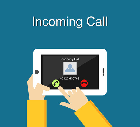 holding smart phone: Incoming call illustration. Flat design. Incoming call interface on phone screen illustration concept.
