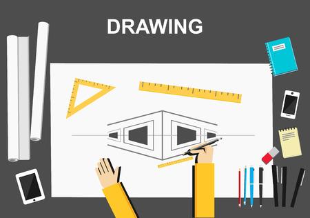 architectural team: Drawing illustration. Architecture concept.  Flat design illustration concepts for construction working drawing architectural business analysis planning development brainstorming.