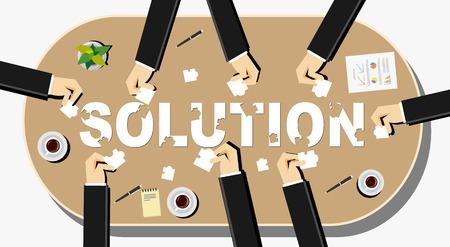Crear un concepto de solución ilustración. Hombres de negocios con piezas de un rompecabezas. Piso conceptos de diseño ilustración para la discusión del trabajo en equipo trayectoria empresarial estrategia de la toma de decisiones. Vectores