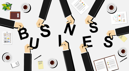 define: Business illustration concept. Business people brings letters. Flat design illustration concepts for teamwork discussion business career strategy decision making analysis meeting. Illustration