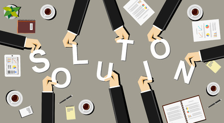 business development: Create a solution illustration concept. Business people brings letters. Flat design illustration concepts for teamwork discussion business career strategy decision making analysis meeting.
