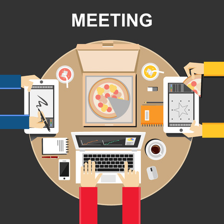 team working: Meeting illustration. Meeting concept. Flat design illustration concepts for teamwork team meeting discussion business eating together development brainstorming strategy creative working.
