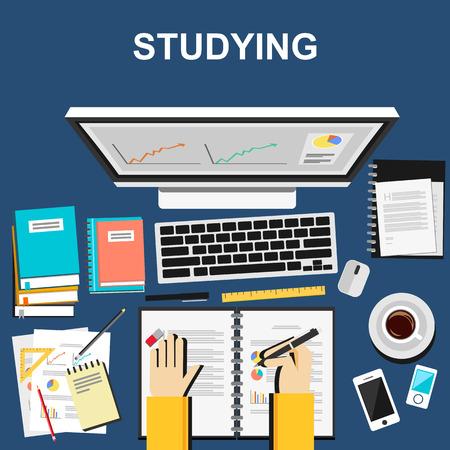 Studieren Illustration. Studieren Konzept. Wohnung, Design, Illustration Konzepte für die Untersuchung der Arbeit Business-Analyse Planung schriftlich Entwicklung Brainstorming.