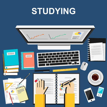 digital learning: Studying illustration. Studying concept.  Flat design illustration concepts for studying working business analysis planning writing development brainstorming.