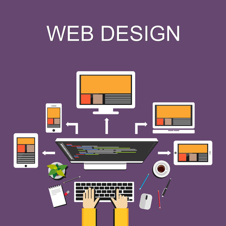 Web design illustration. Flat design. Banner illustration. Flat design illustration concepts for web designer web development web developer responsive web design programming  programmer. Vettoriali