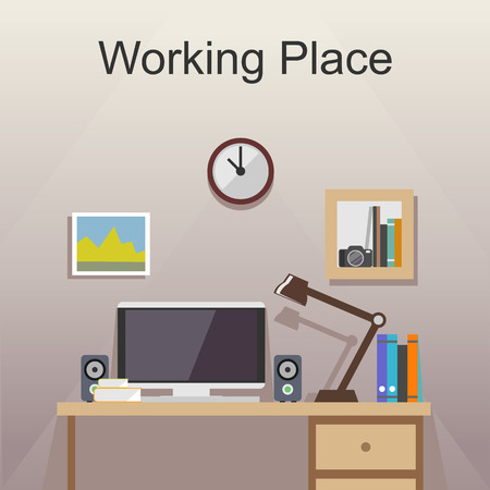 working place: Studying place or working place illustration. Banner illustration. Flat design illustration concepts for working place at office working place at home workspace workplace  studying place.