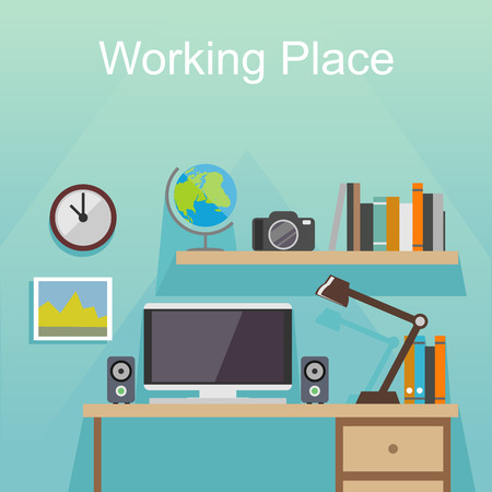 home planning: Working place or studying place illustration. Banner illustration. Flat design illustration concepts for working place at office working place at home workspace workplace  studying place.