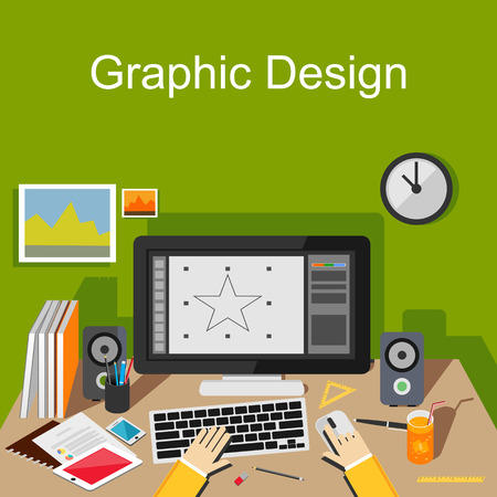Ilustración, diseño gráfico. Diseñador gráfico lugar de trabajo concepto de ilustración. Piso conceptos de diseño de ilustración para desarrolladores diseñar diseñadora lugar de trabajo de trabajo del área de trabajo de intercambio de ideas Foto de archivo - 41627446