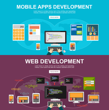 Flat design illustration concepts for mobile apps development web development programming programmer developer development application development brainstorm coding responsive web design.