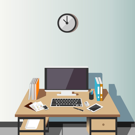 home office interior: Working place at home or office illustration. Modern interior. Flat design.