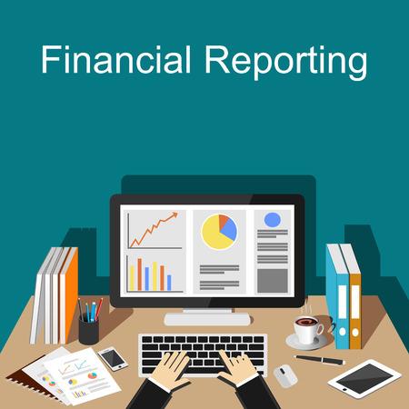 Financiële verslaggeving illustratie. Platte ontwerp illustratie concepten voor zakelijke finance management carrière business strategie bedrijfsstatistieken brainstormen monitoring.