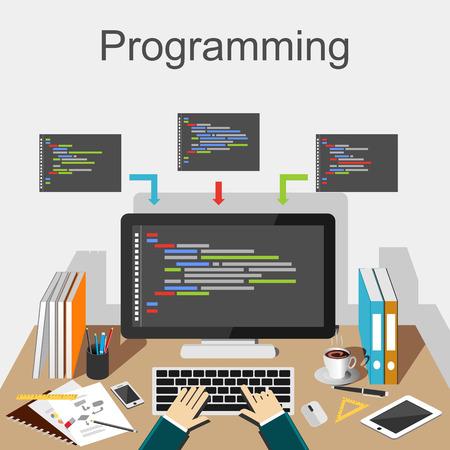 Ilustración de programación. Programador lugar de trabajo concepto de ilustración. Piso conceptos de diseño de ilustración para el desarrollo desarrollador trabajando análisis de puesto de trabajo de codificación de intercambio de ideas. Ilustración de vector