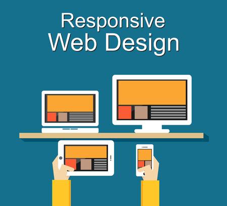 Responsive web design illustration. Flat design. Banner illustration. Çizim