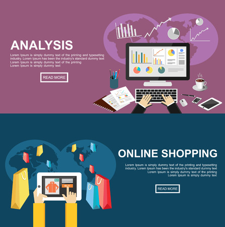 Banner for analysis and online shopping. Flat design illustration concepts for business, finance, management, analysis, marketing, business statistics, online shopping, e-commerce, buying online.