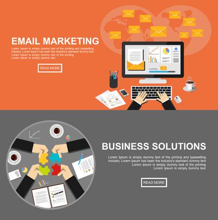 correo electronico: Banner de soluciones de email marketing y de negocios. Vectores