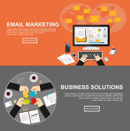 mail marketing: Banner for email marketing and business solutions.