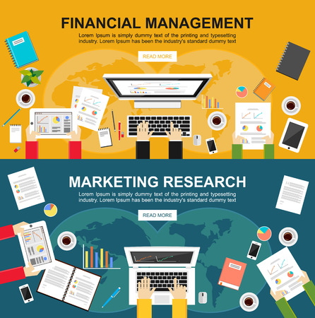 finance icons: Banner for financial management and marketing research.  Illustration