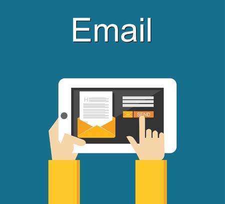 correo electronico: Ilustración de correo electrónico. Envío de correo electrónico concepto de ilustración. diseño plano.