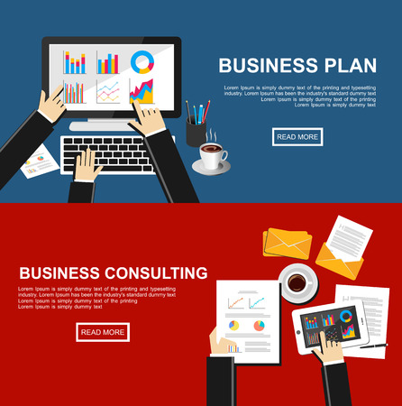 consulting business: Banner for business plan and business consulting.  Illustration