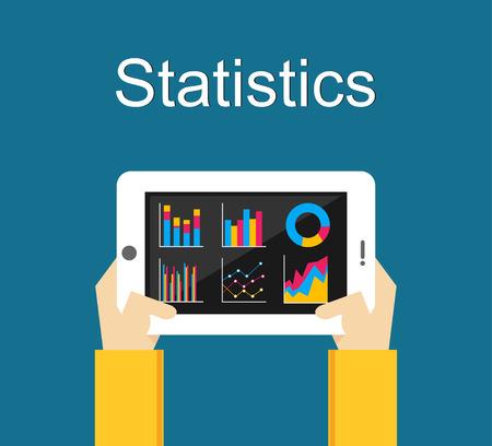 Statistics illustration. Analyze business statistics on gadget screen.