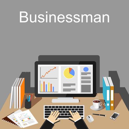 Businessman workspace illustration.  Stock Illustratie