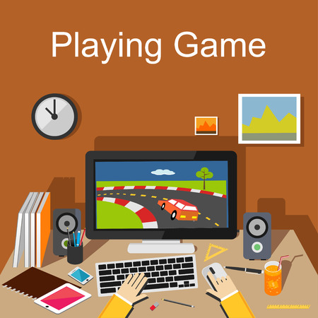 game design: Playing game Illustration. Flat design.