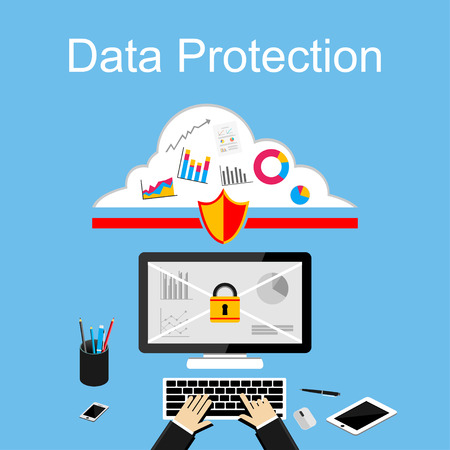 protected database: Data protection illustration. Flat design illustration concepts for data security, internet security.