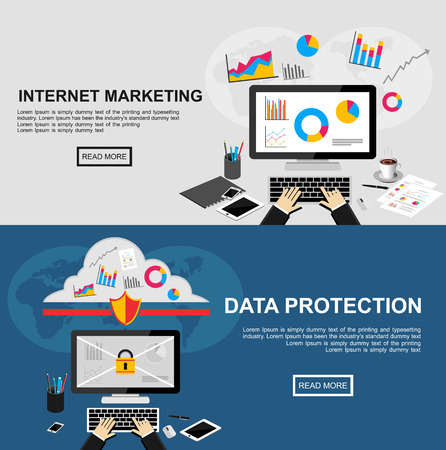 security icon: Banner for internet marketing and data protection.  Illustration