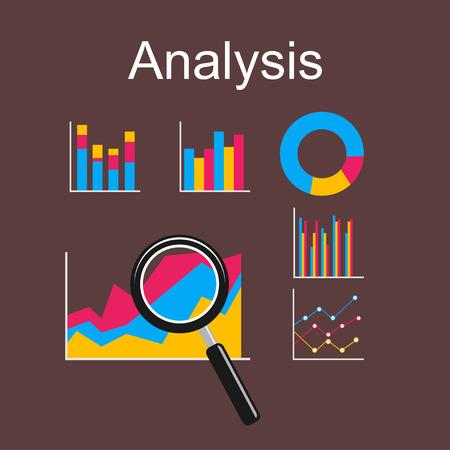 analyse: Analysis illustration. Flat design illustration concepts for business, management, career, business statistics, brainstorming, monitoring trend.