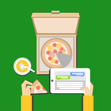 eating pizza: Eating pizza and chatting illustration concept. Flat design.