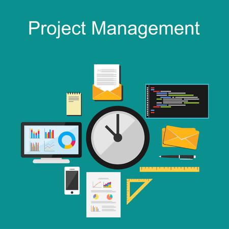 プロジェクト管理のイラスト。フラットなデザイン。  イラスト・ベクター素材