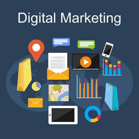 internet marketing: Digital marketing illustration. Flat design illustration concepts for internet, digital media, internet marketing.